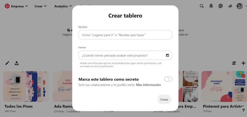 crear tableros